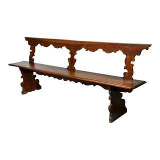 19th Century Italian Hand Carved Long Primitive Bench For Sale