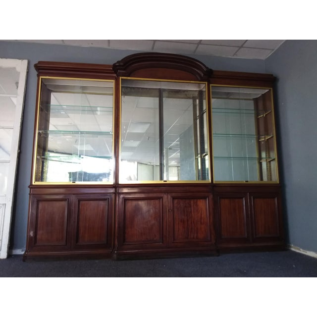 Brown Antique Rosewood Shop Display Case With Miiror and Glass For Sale - Image 8 of 11