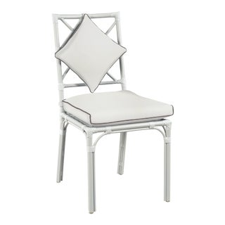 Haven Outdoor Dining Chair, White and Coal For Sale