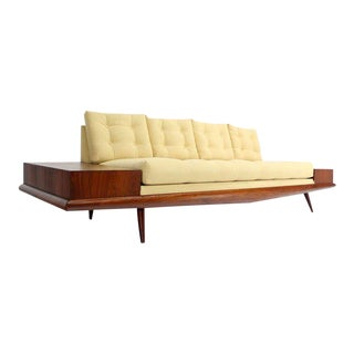 Adrian Pearsall Mid-Century Modern Sofa with Walnut End Table, New Upholstery
