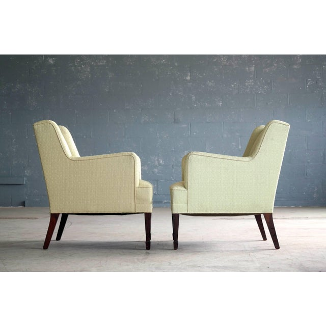 Frits Henningsen Danish Mid-Century Pair of Lounge Chairs by Frits Henningsen For Sale - Image 4 of 8