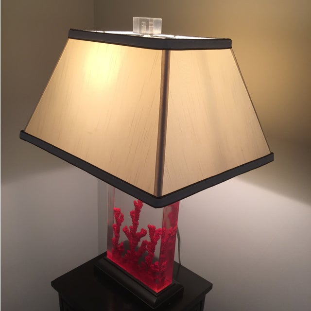 Lucite Red Coral Lamp - Image 8 of 9