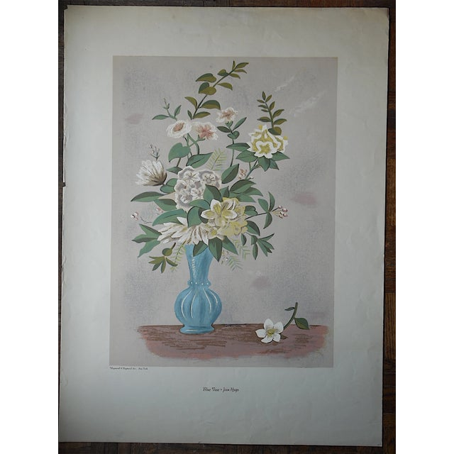 This captivating Jean Hugo (France 1894-1984 Listed) silkscreen print was printed c.1970 and depicts a blue vase with...