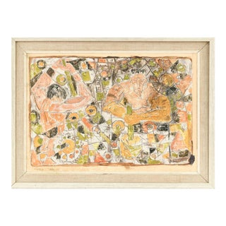 1960s Mid-Century Danish Oil Abstract Figurative Collage on Paper, Framed For Sale