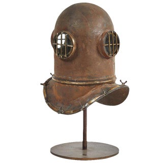 Early 20th Century Metal Diver Helmet on Stand