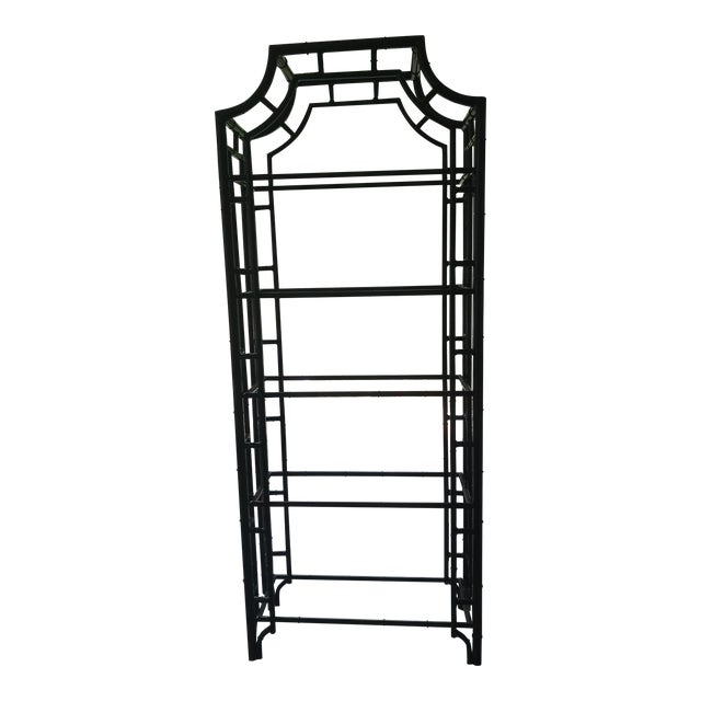1950s Hollywood Regency Metal Pagoda Faux Bamboo Etagere For Sale