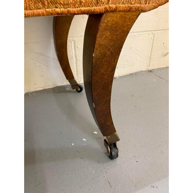 Metal 1980s Vintage Swaim Regency Peach Velvet Damask Upholstered Scroll Arm Curvy High Side Bench on Casters For Sale - Image 7 of 12