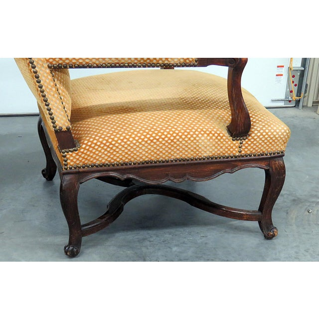 Metal Pair of Country French Arm Chairs For Sale - Image 7 of 8