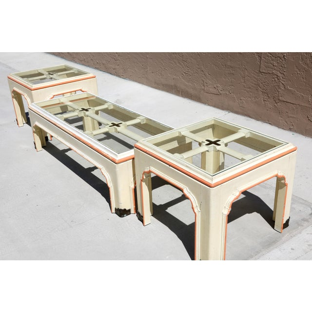 1960s Hollywood Regency Pagoda Cocktail Table W Brass Inlay and Glass Includes Side Tables - Set of 3 For Sale - Image 11 of 13