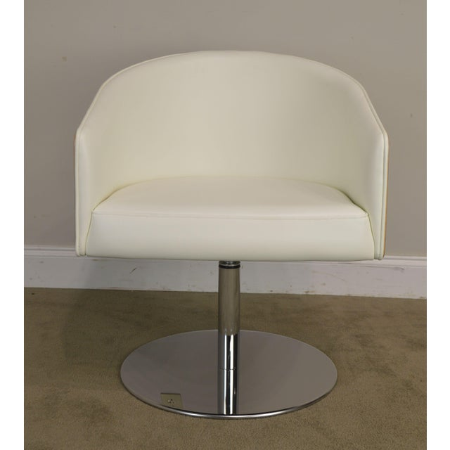 White Leather & Zebra Wood Barrel Back Pair Chrome Pedestal Swivel Lounge Chairs by Cape (B) For Sale - Image 11 of 13