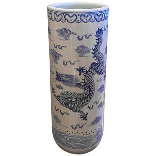 Chinese Blue and White Porcelain Vase Umbrella Stand, Ornamented With a Dragon For Sale