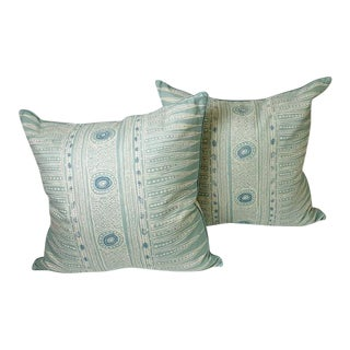 Lee Jofa Indian Zag Pillows in Aqua - a Pair For Sale