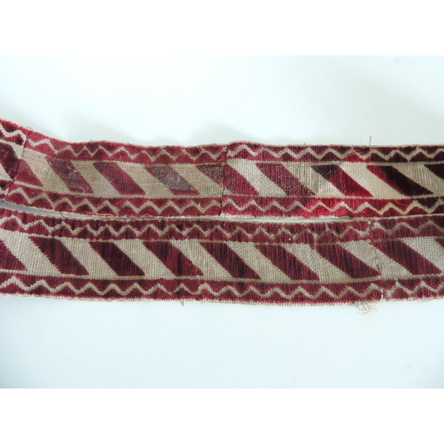 Italian Red and Gold Woven Antique Trim For Sale - Image 4 of 6