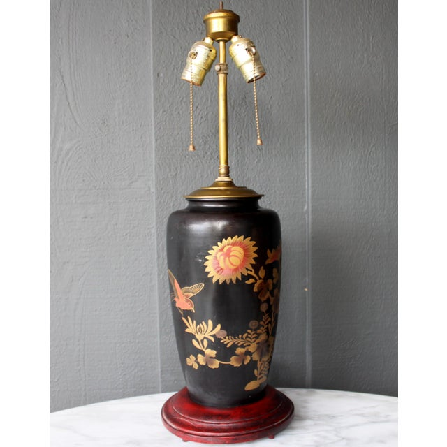 Asian Antique Japanese Bird & Flower Enameled Lamp Chinoiserie Silk Pagoda Shade For Sale - Image 3 of 5