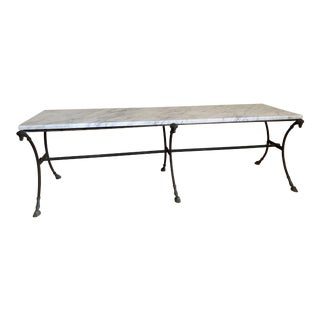 Rams Head Coffee Table With Carrara Marble Top For Sale