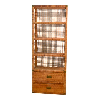 20th Century Campaign Rattan/Wicker Bookshelf For Sale