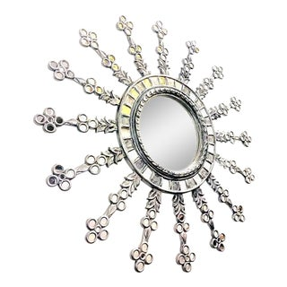 "Large 60"" Starburst Wall Mirror, Spanish Style Sunburst, Hand Carved Mohena in Silver Giltwood For Sale"