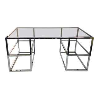 Romeo Rega Modern Chrome and Glass Desk For Sale