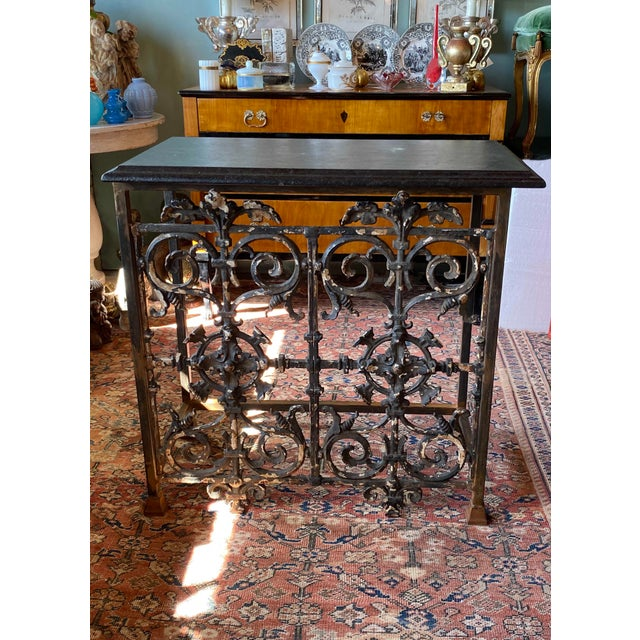 French 19th Century French Iron Console With Marble Top For Sale - Image 3 of 6