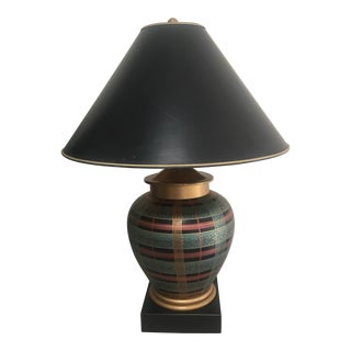 1980s Frederick Cooper Plaid/Striped Ginger Jar Lamp