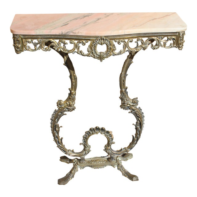 1900s French Louis XVI Bronze Console Table For Sale