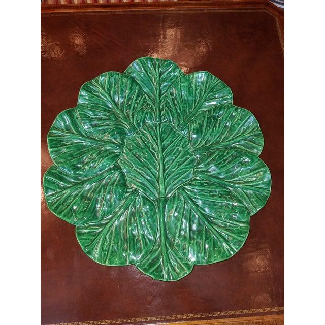 1990s Large Jan Pugh Signed Majolica Studio Pottery Round Leaf Platter For Sale - Image 5 of 5
