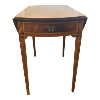Mahogany Inlay Drop Leaf Pembroke End Side Table For Sale