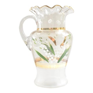 Antique 19h-Century Hand-Painted Blown-Glass Large Pitcher For Sale