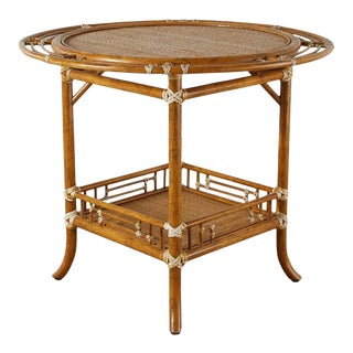 McGuire Rattan Raffia Round Occasional or Centre Table For Sale