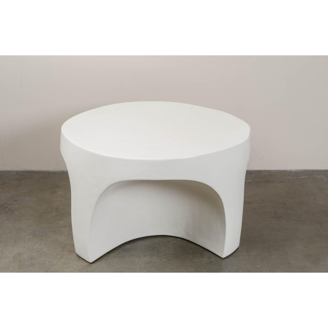 Contemporary Cream Lacquer Curve Table by Robert Kuo, Limited Edition For Sale - Image 3 of 5
