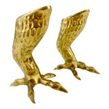 Image of 1970s Figurative Brass Eagle Bird Talon / Claw Candlesticks - a Pair For Sale