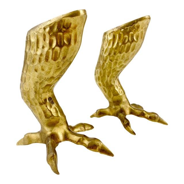 1970s Figurative Brass Eagle Bird Talon / Claw Candlesticks - a Pair For Sale