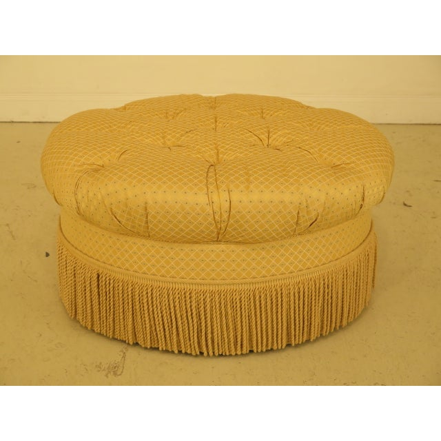 Textile Traditional Edward Ferrell Ltd Round Tufted Yellow Ottoman For Sale - Image 7 of 7