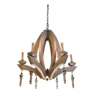 Cyan Design Organic Modern Gray Wood Manning Chandelier For Sale