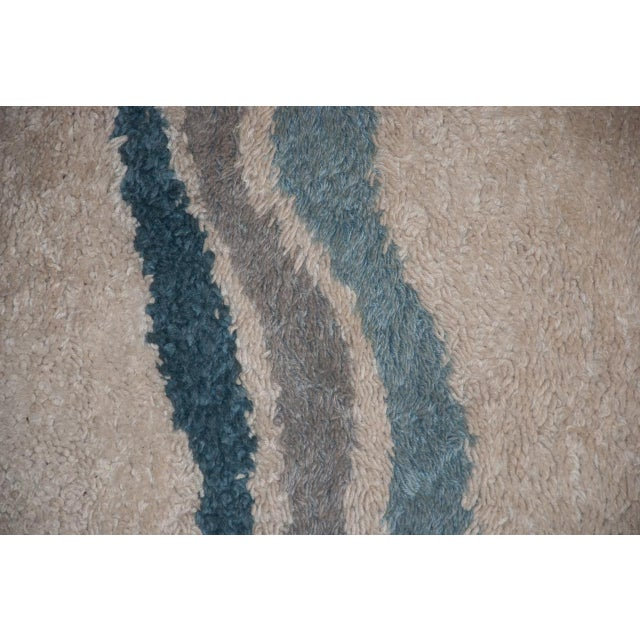 Mid-Century Modern Circa 1960 Modern Danish Abstract Blue and White Wool Rya Rug - 5′7″ × 8′4″ For Sale - Image 3 of 5