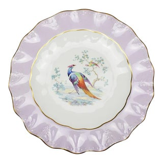 Purple Royal Crown Derby Bone China Colorful Scalloped Peacock Plate England For Sale