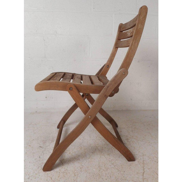 Mid-Century Modern Vintage Modern Wood Folding Chairs - Set of 5 For Sale - Image 3 of 11