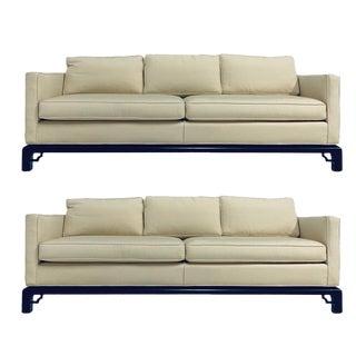 Mario Buatta for Widdicomb Chinoiserie Silk 3 Cushion Sofas - a Pair For Sale