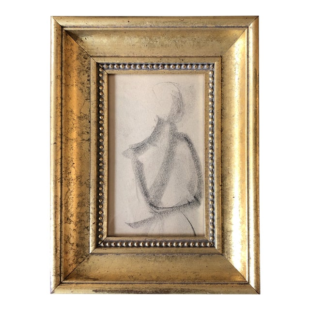 Vintage Original Abstract Charcoal Study Drawing 1950's Framed For Sale