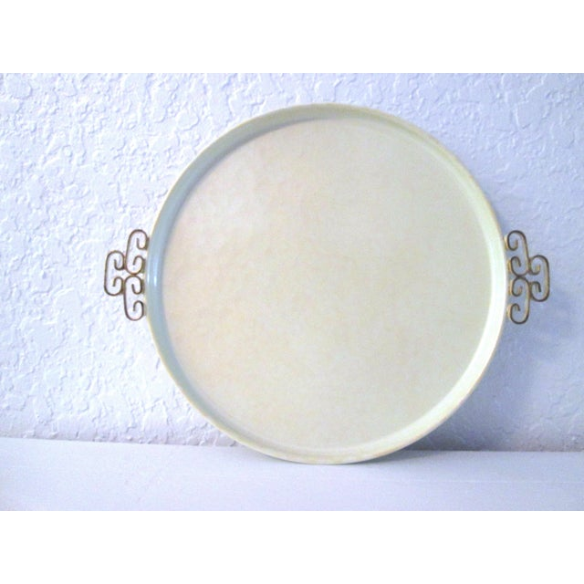Mid-Century Modern Off-White Kyes Moiré Tray - Image 2 of 5