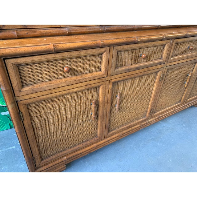 American of Martinsville Faux Bamboo and Rattan China Cabinet by American of Martinsville For Sale - Image 4 of 10