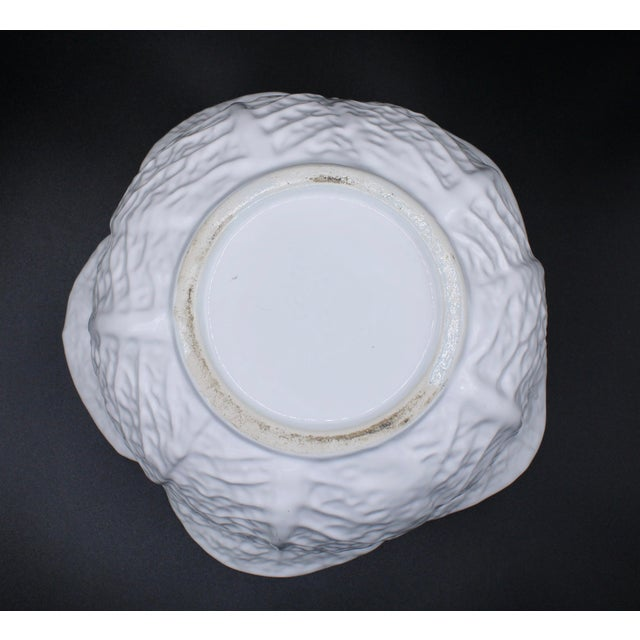 Mid-20th Century White Cabbage Pottery Tureen and Plate Set For Sale - Image 10 of 13