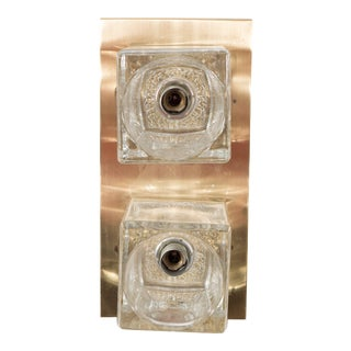Peill & Putzler Glass Cube Wall Sconce on Brass For Sale