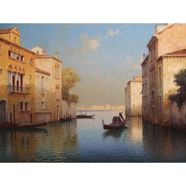 French Early 20th Century French Venice Framed Oil Painting Signed Alphonse Lecoz For Sale - Image 3 of 11