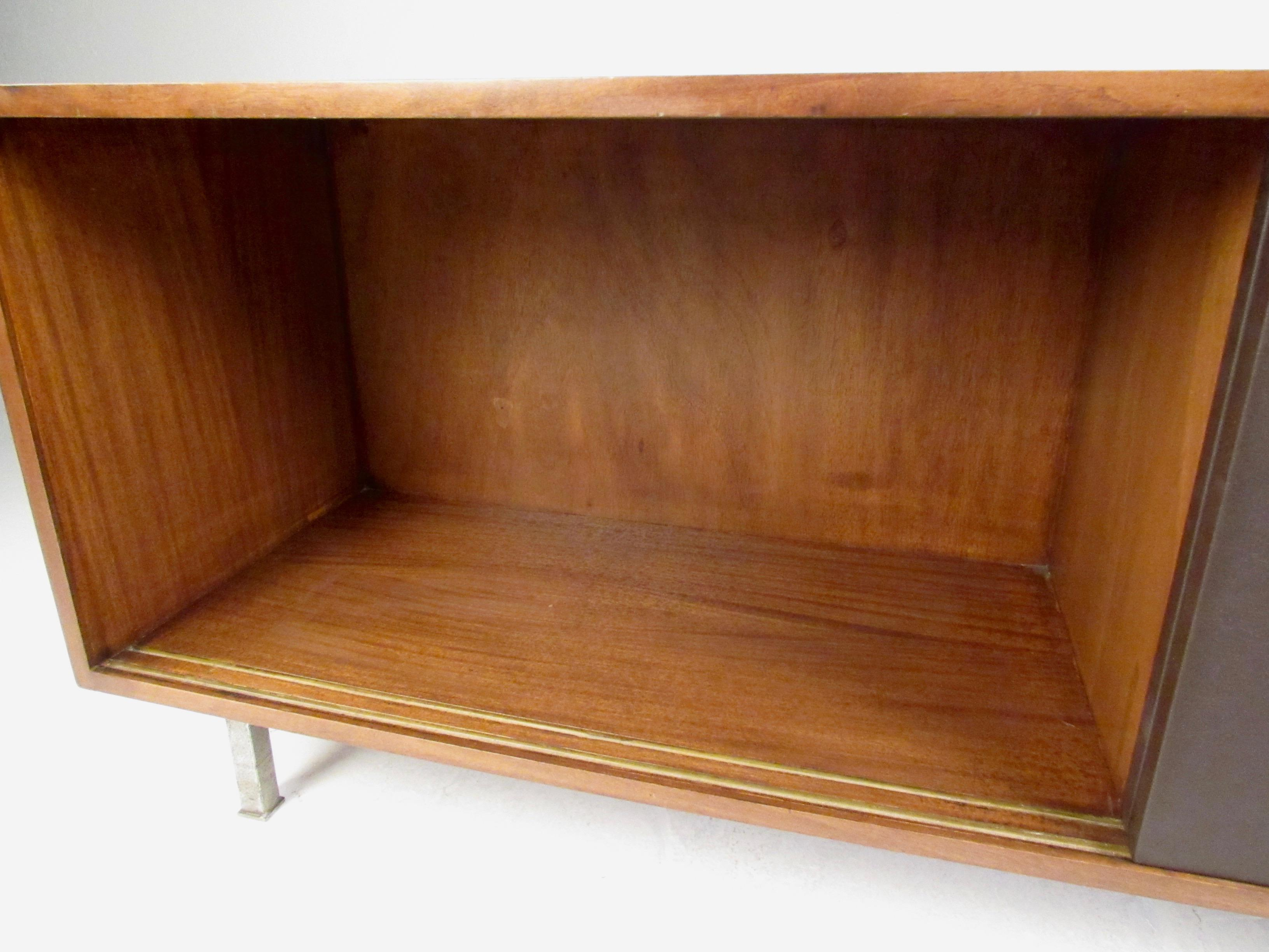 1950s Florence Knoll Sliding Door Office Credenza For Sale   Image 5 Of 11