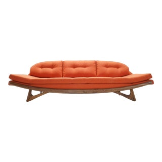Mid-Century Style Orange Upholstered Gondola Sofa For Sale