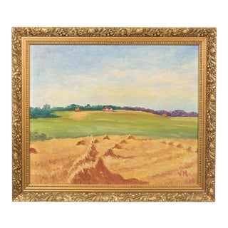 Colorful Hay Fields on a Peaceful Day Pastoral Landscape Oil on Board For Sale