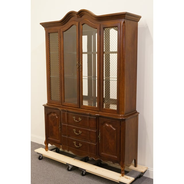 French 20th Century French Provincial Bernhardt Furniture Lighted China Cabinet For Sale - Image 3 of 13