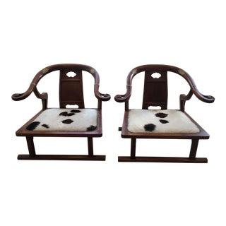 Michael Taylor Mid-Century Modern Cowhide Chairs - A Pair