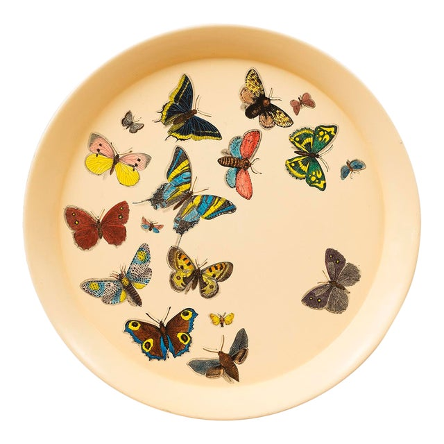 1950s Piero Fornasetti Butterfly Motif Serving Tray For Sale